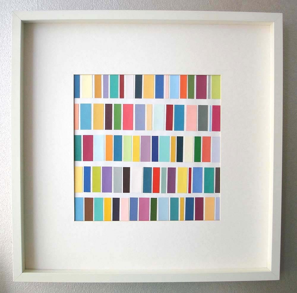 Brightly Colored Paper Collage-  Rainbow Bars