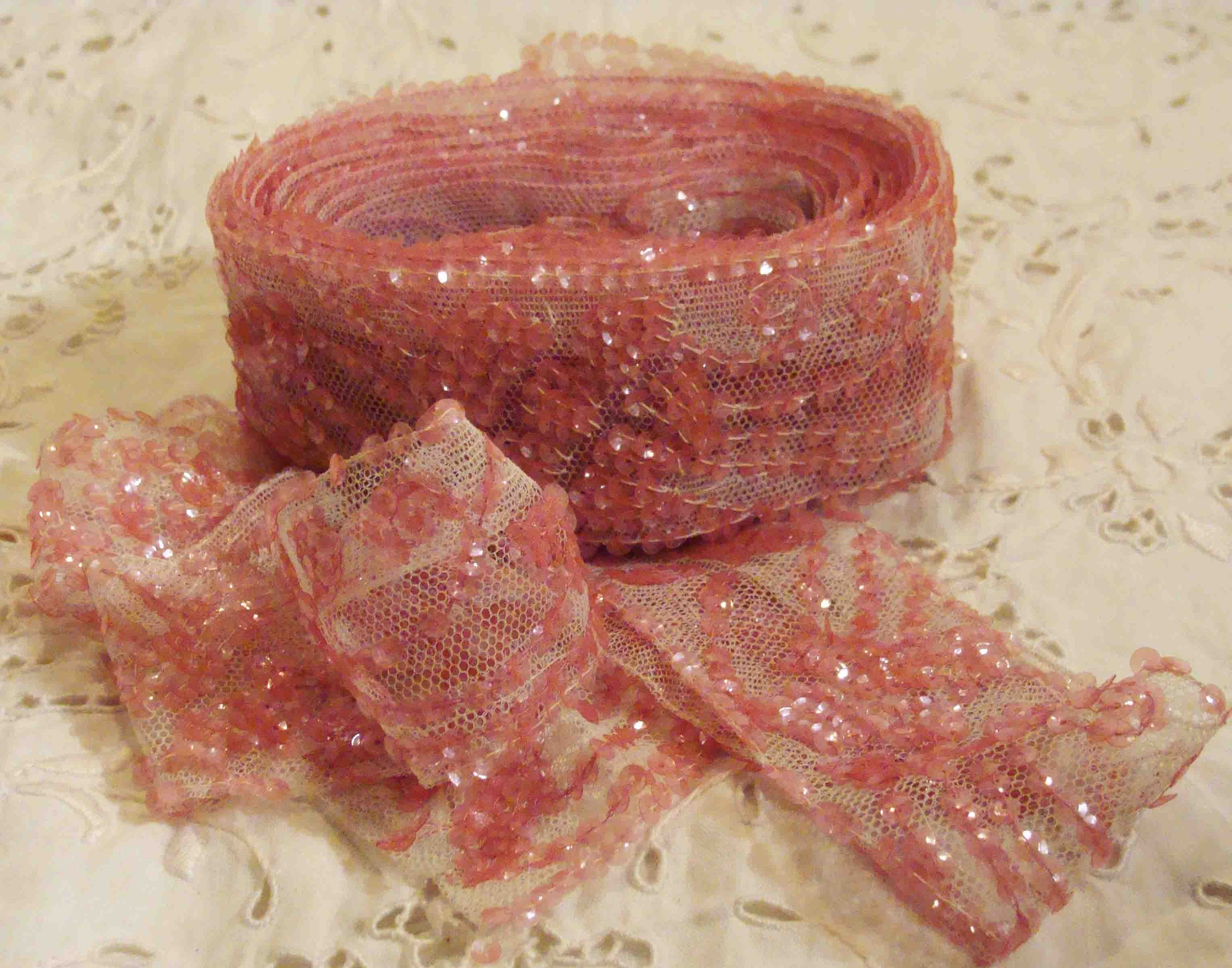 4 Yards of 1920s Exquisite Twinkling and Sparkling Pink Sequined Trim New Old Store Stock