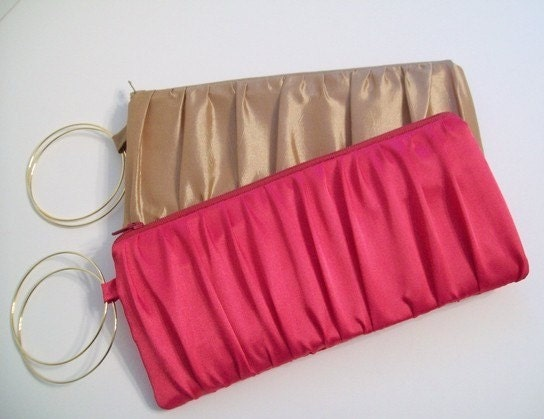 1 Ruched Bangle Wristlet/Clutch in Gold Elegance Taffeta or Hot Pink Satin (choose your colors) Monogramming available
