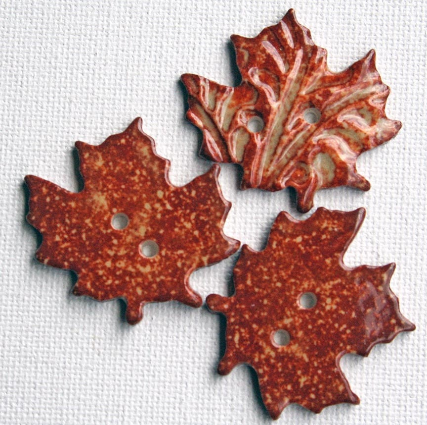 HANDMADE PORCELAIN MAPLE LEAF BUTTONS - RUSTY ORANGE