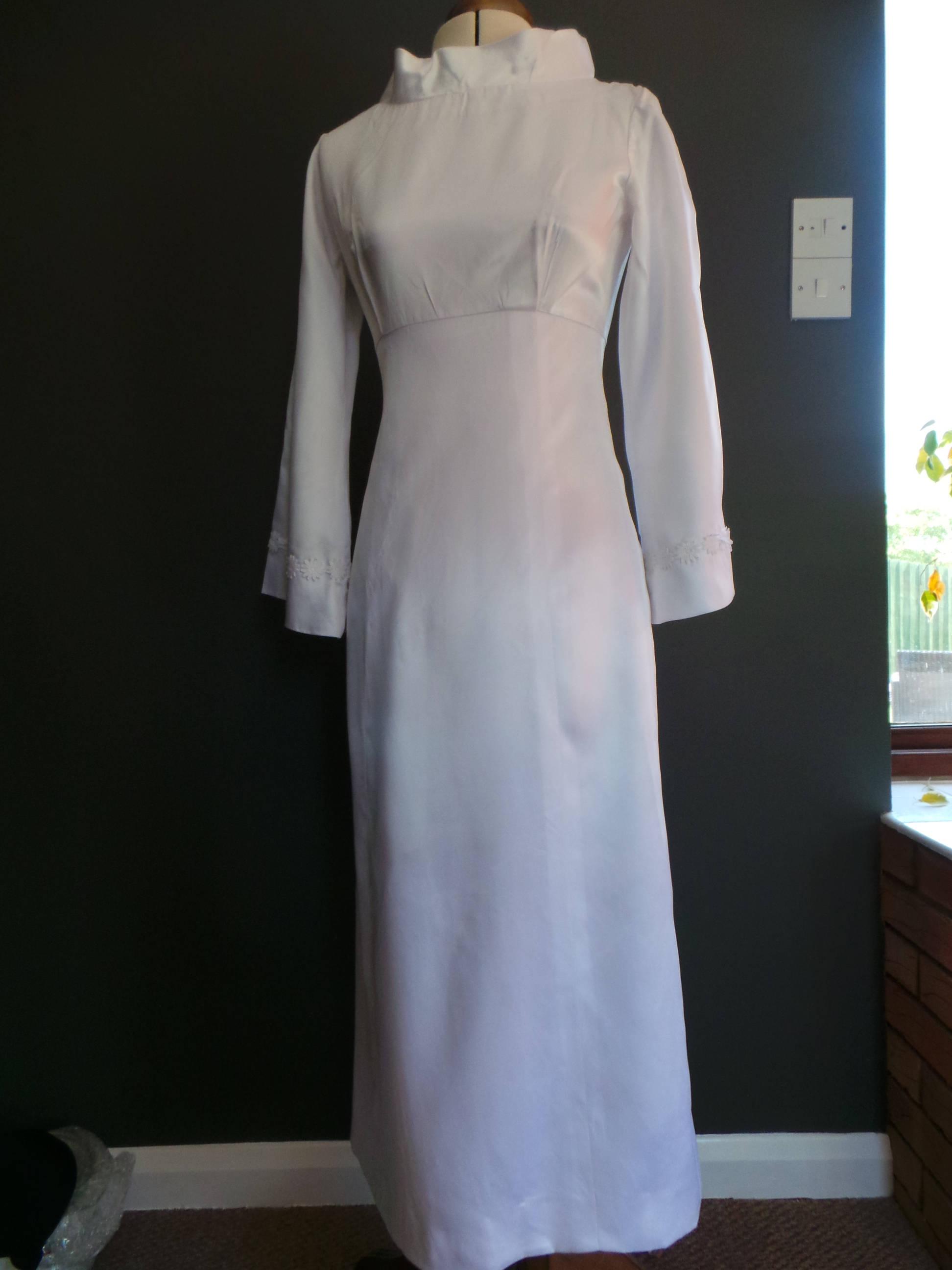 Vintage empire line wedding dress  white satin