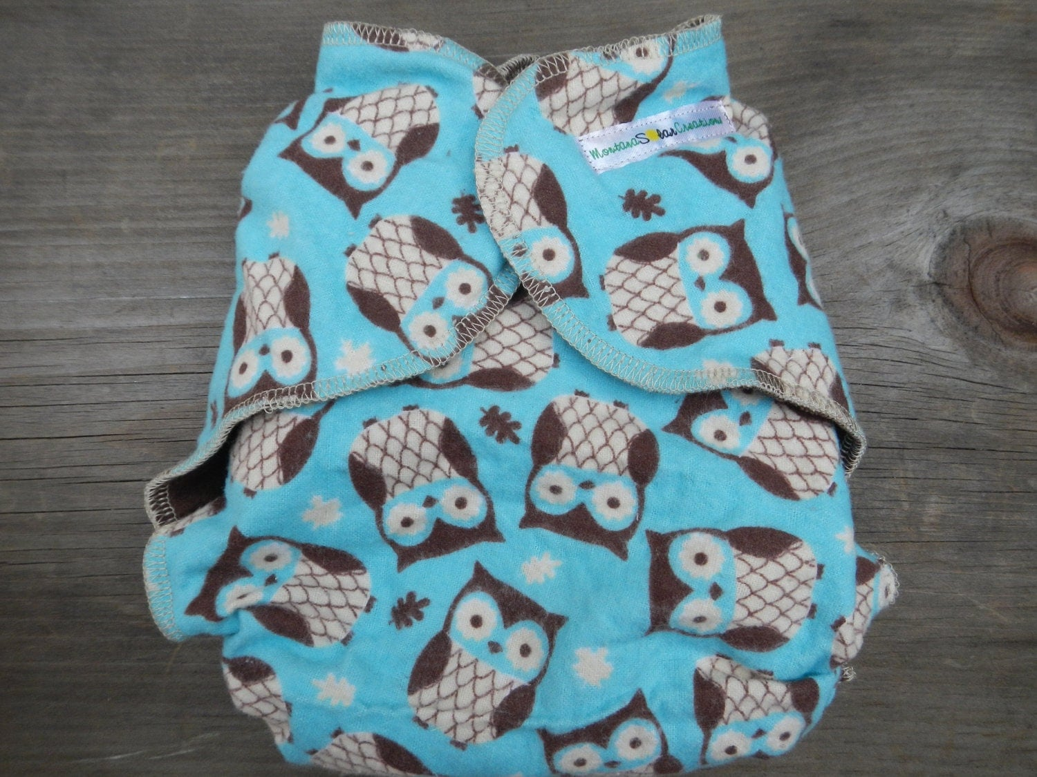 Owls fitted flannel cloth diaper nature boy girl soaker insert gender neutral one size fits all OS Upcycled Recycled Repurposed solar made