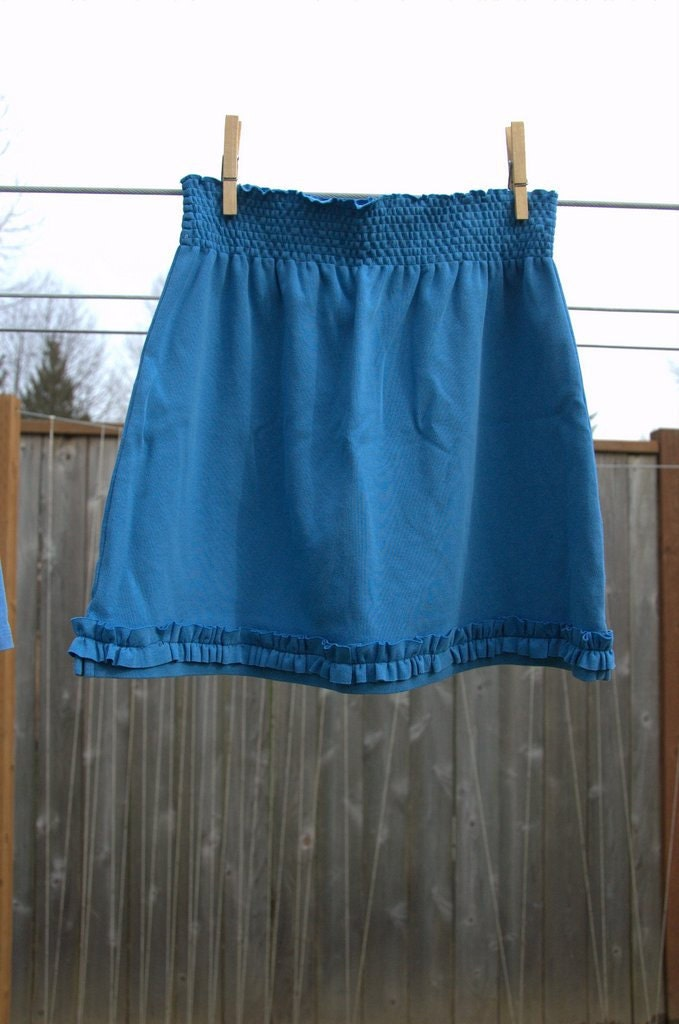 Girl's Blue Knit Ruffle Skirt