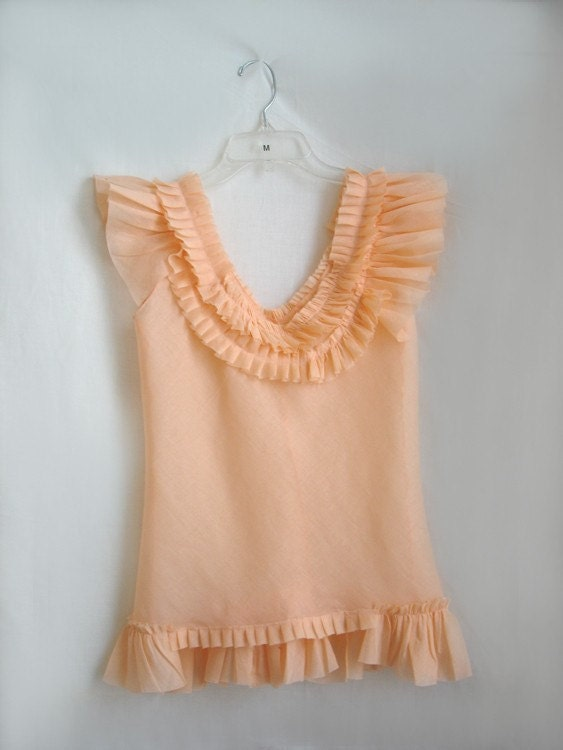 Cotton Voile Ruffled Pleated top