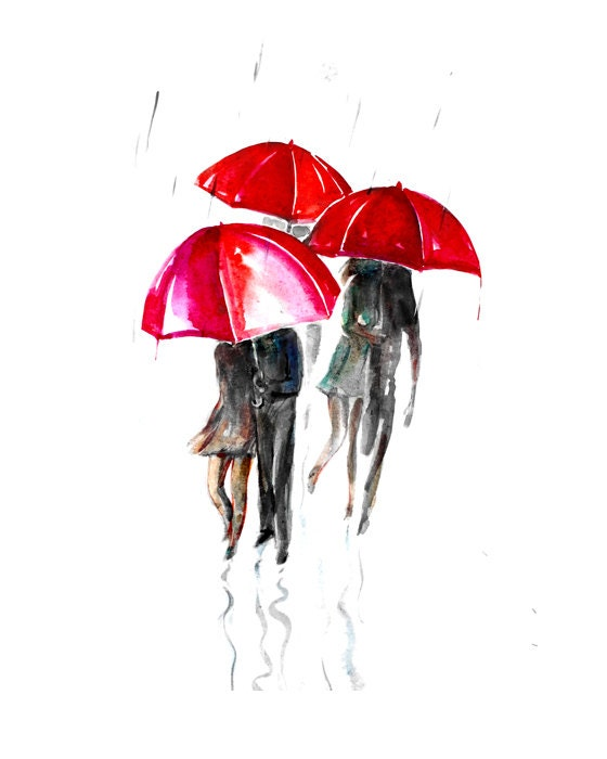Items similar to watercolor paining red umbrella for Painting red umbrella