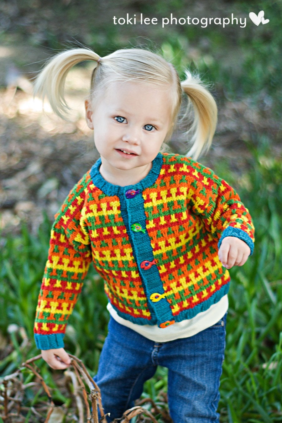 CHESAPEAKE STREET--Multi-Colored Handknit Baby Cardigan