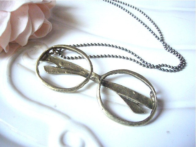 Antique Brass Classic Eyeglasses Necklace