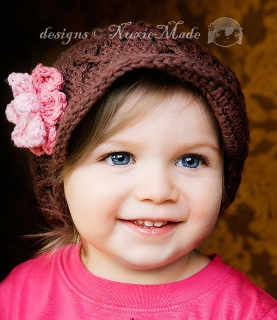 3-6 months Flower Beanie with Brim , brown, rose, pastel pink, celery