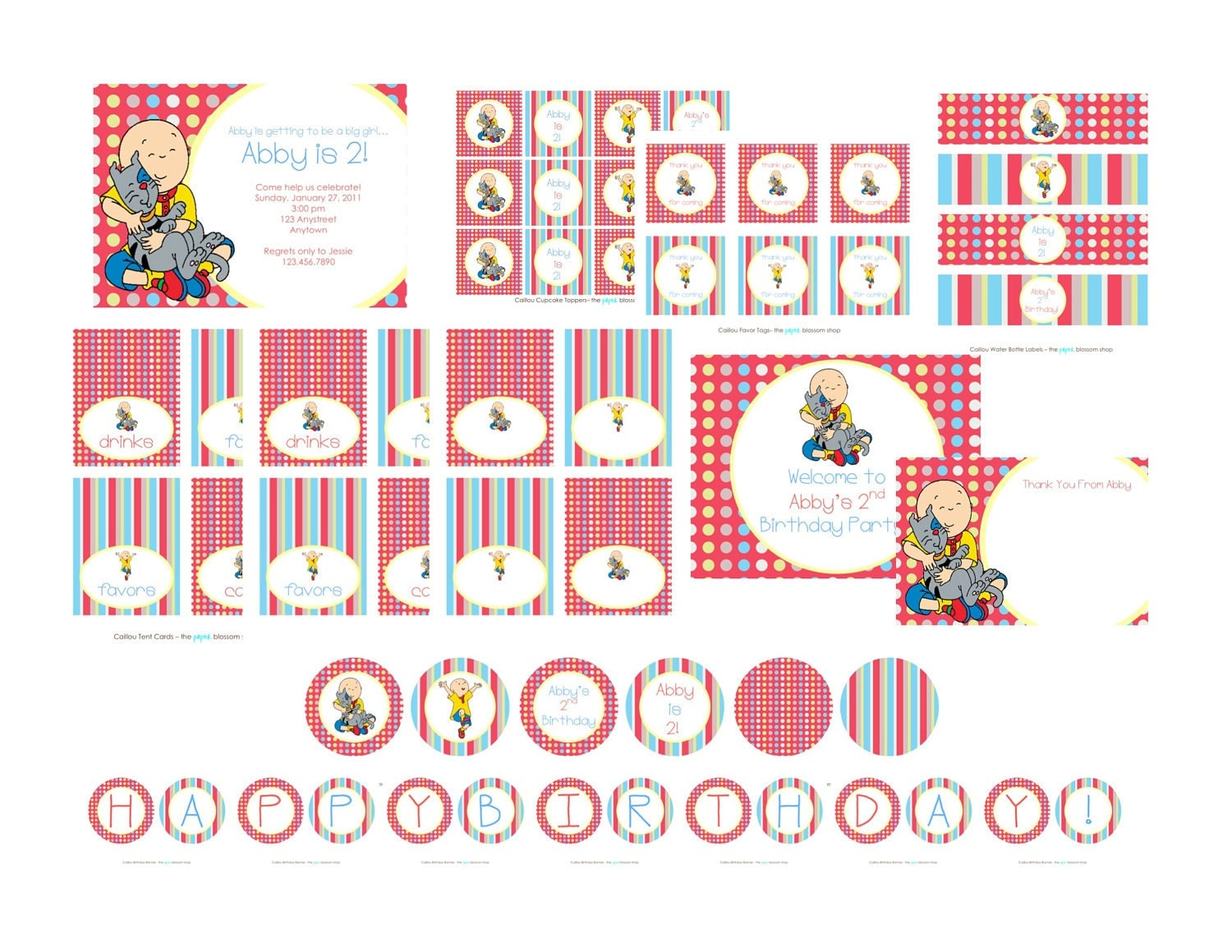 Custom Printable Polka Dots & Stripes CAILLOU Birthday Party Package