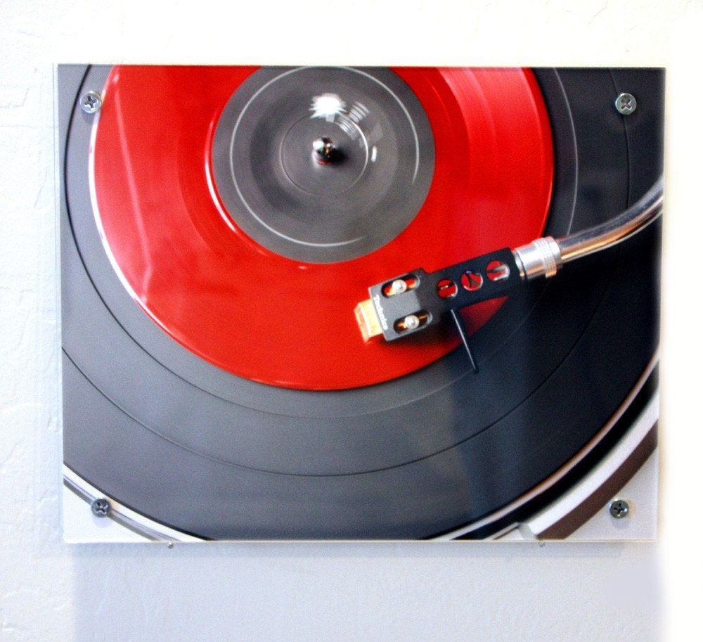 Modern Wall Art - Retro Red Vinyl Record Photography - blueorder