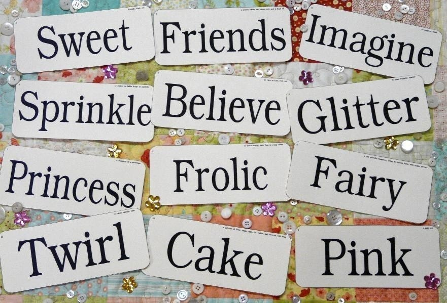 12 Large Girly Flash Cards - vintage like altered art girl woman believe pink sweet signs words pretty scrapbooking digital uprint primitive