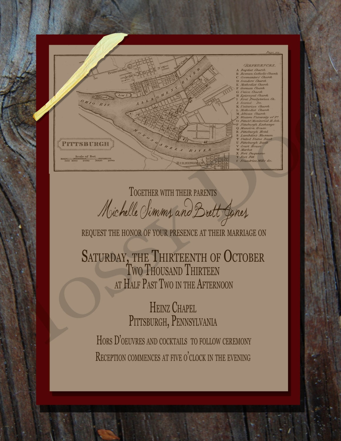 Items Similar To Historic Three Rivers Pittsburgh Map Wedding Invitations On Etsy