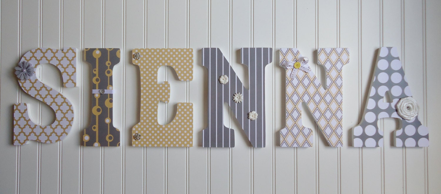 Nursery Decor Wooden Wall Letters : Items similar to wall letters nursery decor wooden