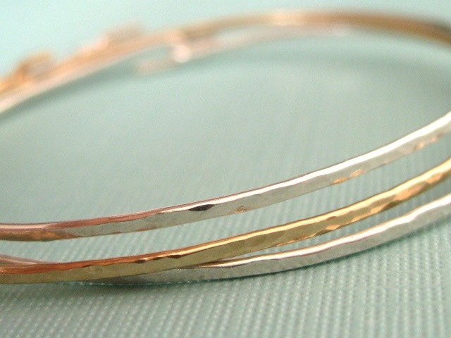 sterling silver and gold filled interchangeable hammered bangle