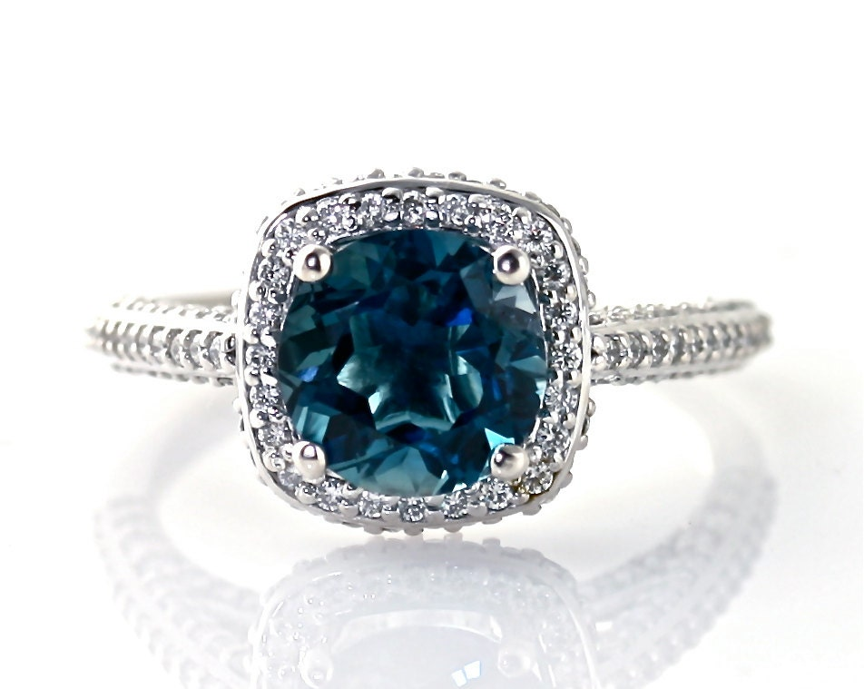 14k blue topaz ring halo engagement by