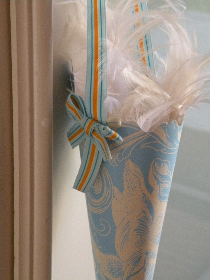 Seaside Blue Swirl with Fun Striped Orange Ribbon Birthday Party Favor Cone or Wedding Flower Girl Basket