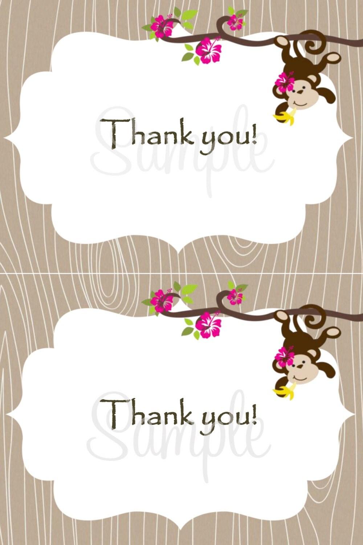 Monkey Baby Thank You Card X Girl