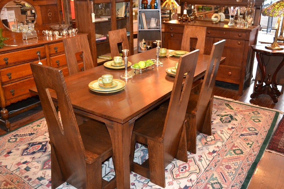 Arts & Crafts Mission Oak Dining Table and Limberts style 8 Chairs with cut outs