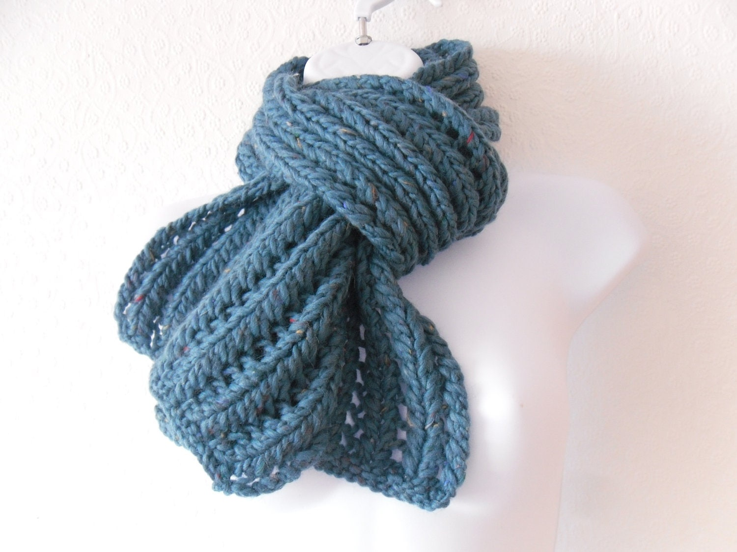 "Chunky hand knitted womens scarf Turquoise 80% wool tweed flecks 5' 8"" long 7"" wide - TheFeminineTouch"