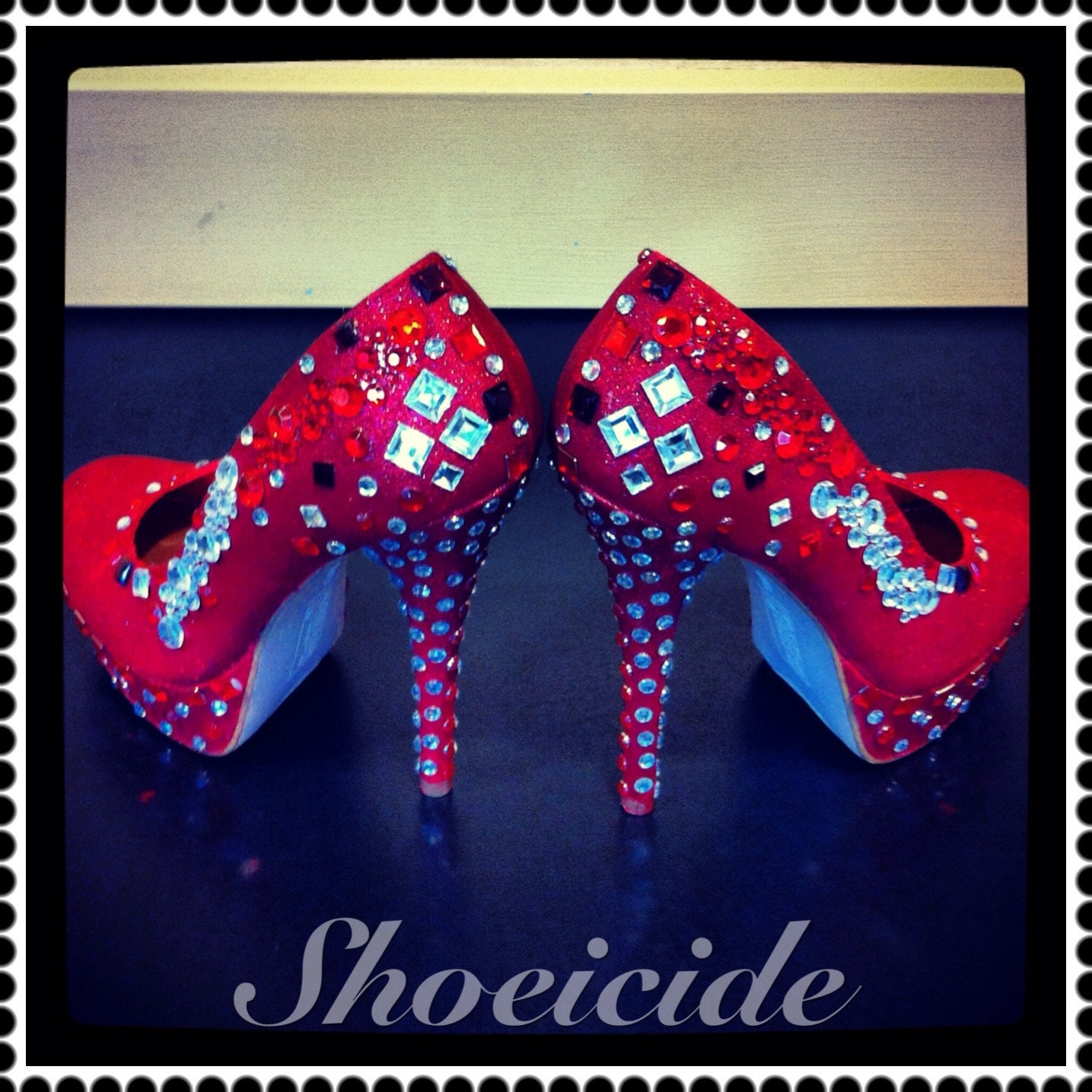 Red Bling Rhinestone Custom heels One of a Kind