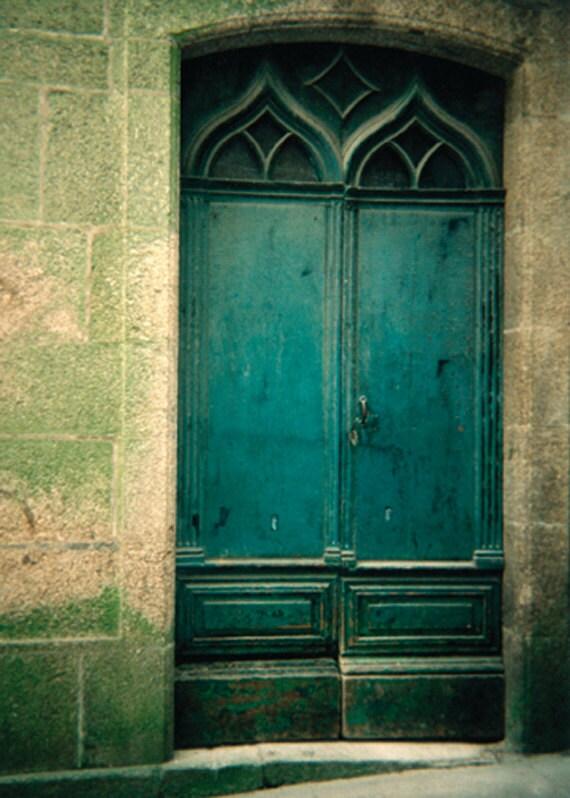 Old door photos - La Coruna Spain - teal spanish door - rustic doors and blocks - LineArtPrints