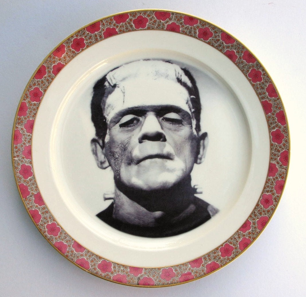Frankenstein Portrait Plate - Altered Antique Limoges Dinner Plate