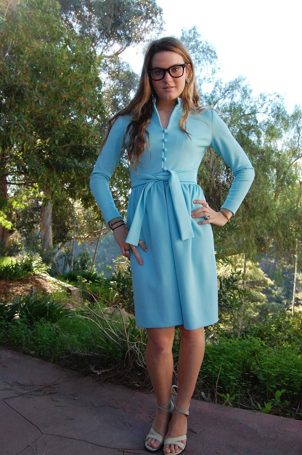 Vintage 1950s Powder Blue Dress