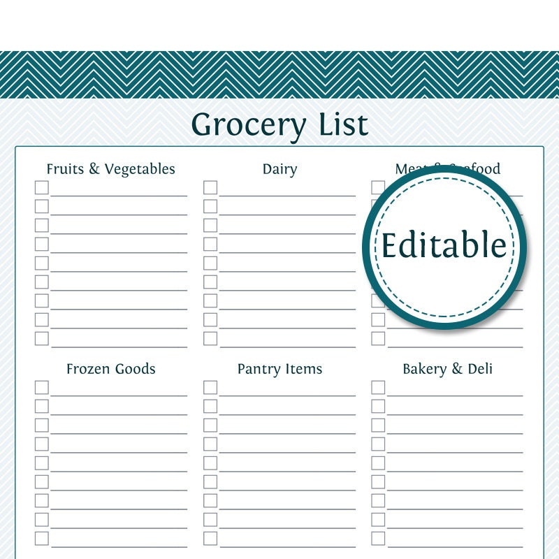 Grocery Shopping List with Categories- Editable - Printable PDF ...