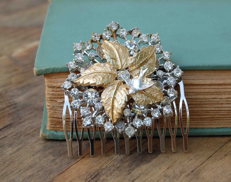 Vintage Silver Gold Rhinestone Hair Comb Wedding Bridal Autumn Winter Gold Leaves Snowflake Bird
