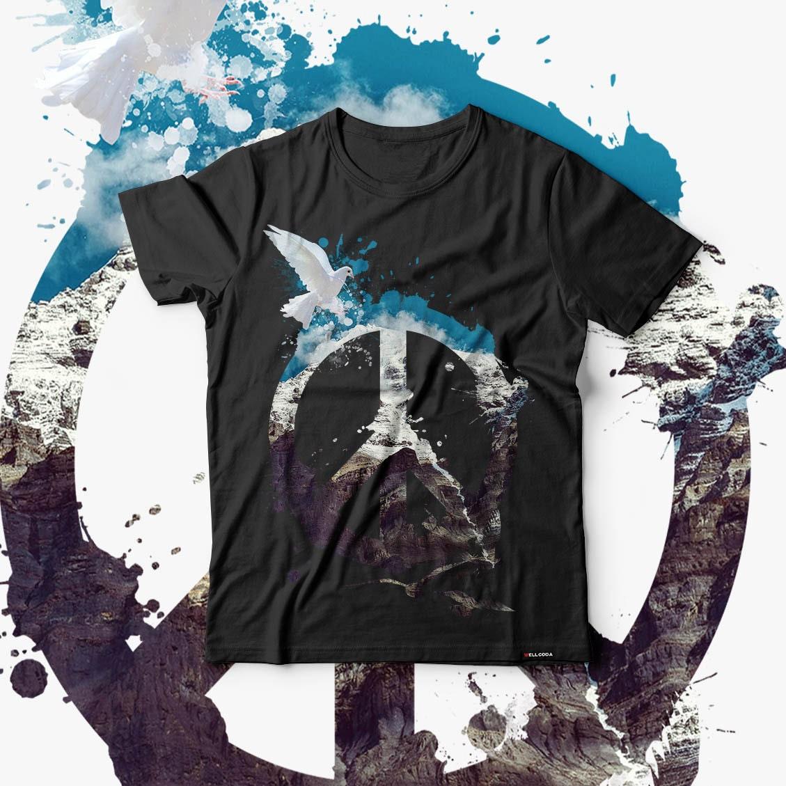 Animal Peace and Love Bird Life Men Black Tshirt S5XL NEW  Wellcoda