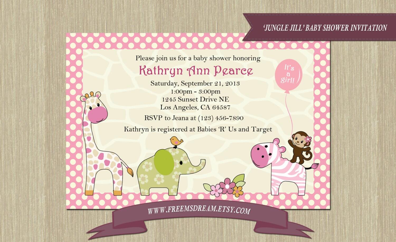 jungle jill themed baby shower invitation printable by freemsdream