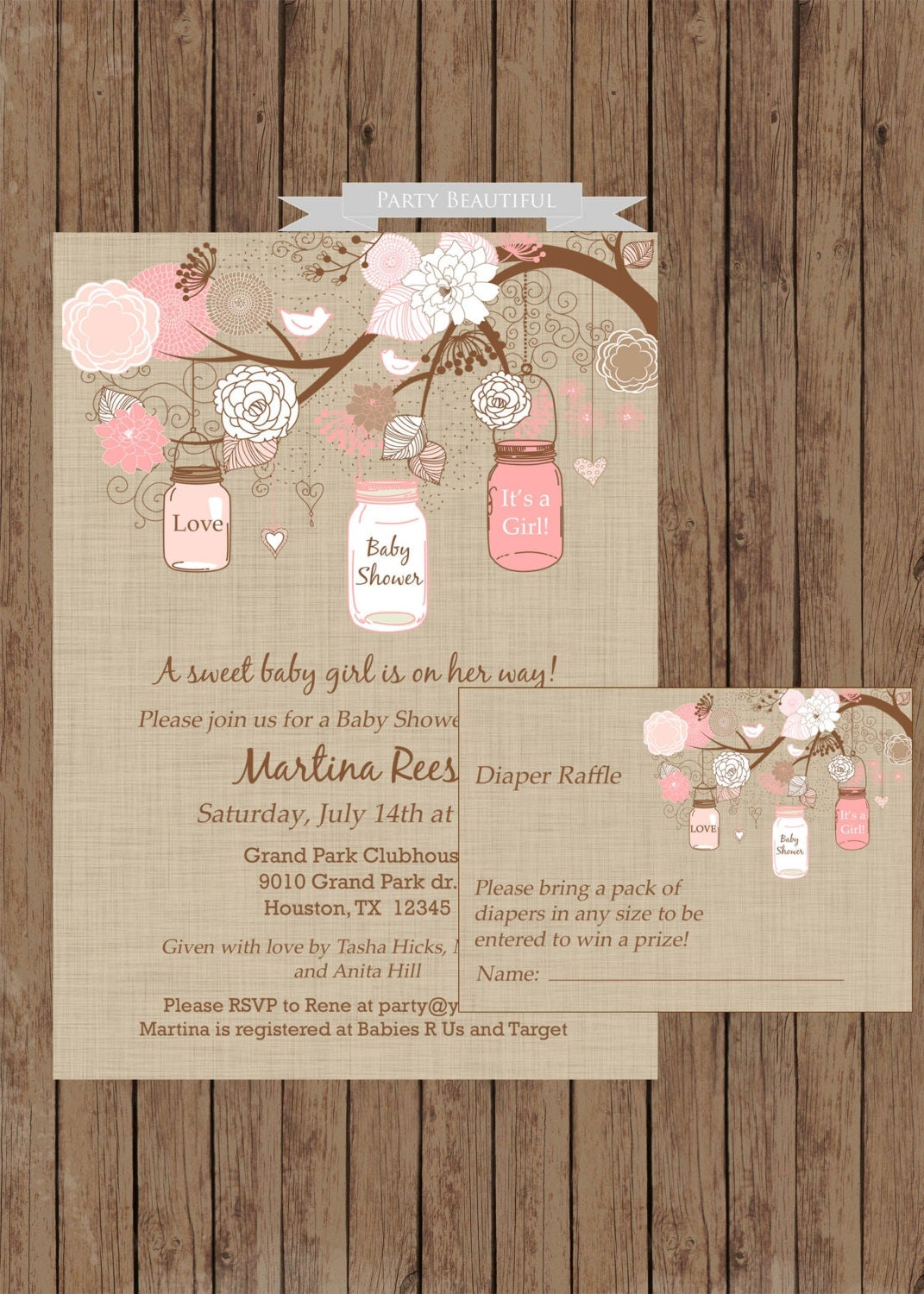rustic girl baby shower invitation and diaper raffle set mason jar