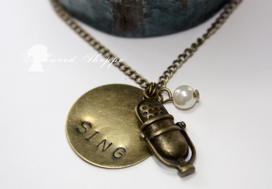 Vintage Microphone Sing Music Necklace-Now in Bronze or Silver - DashwoodShoppe
