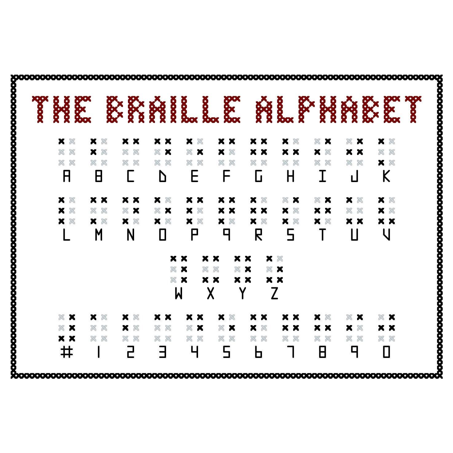 BRAILLE ALPHABET Cross Stitch Sampler Pattern by