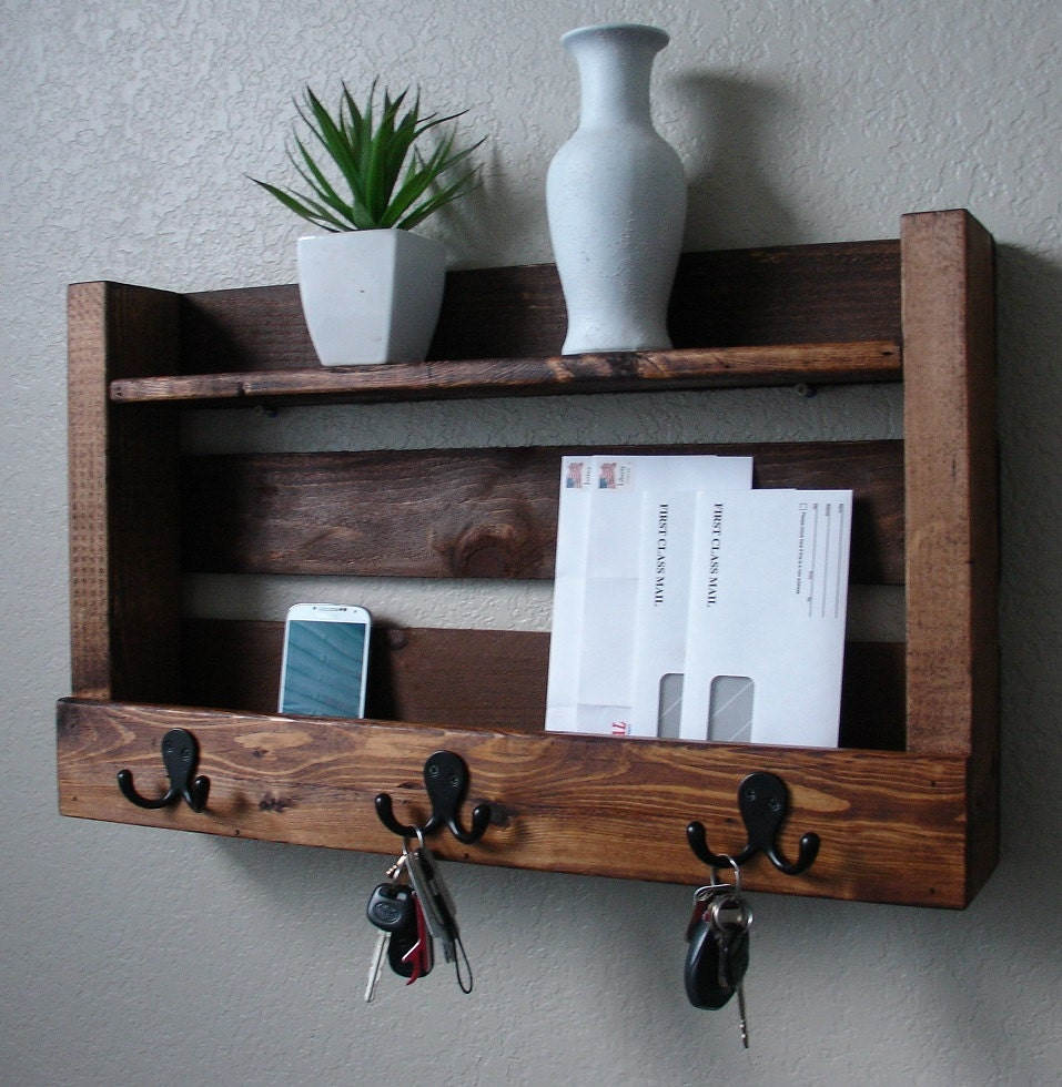 rustic entryway 3 hanger hook coat rack with shelf and by. Black Bedroom Furniture Sets. Home Design Ideas