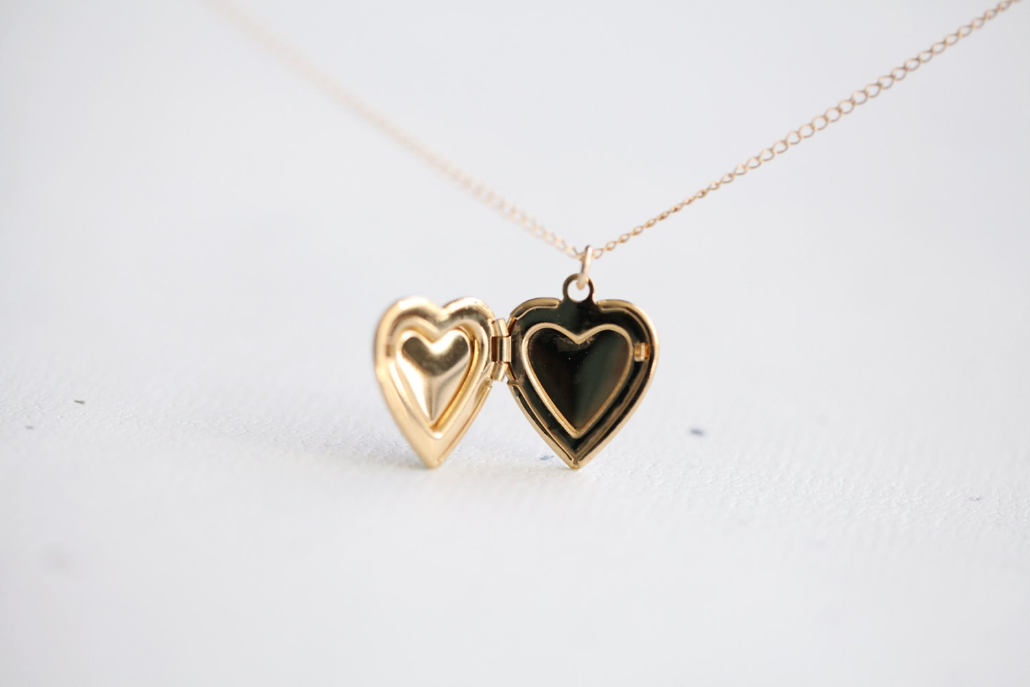 Heart Locket Necklace - 14k gold filled heart locket pendant necklace, gift for her, Valentines day