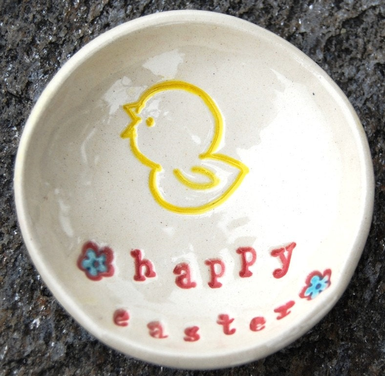 Lil' Dish  - Happy Easter with chickie and flowers