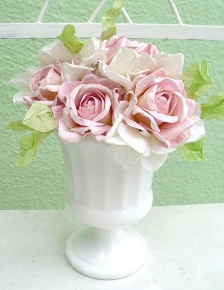 Vintage Milk Glass Floral Arrangement