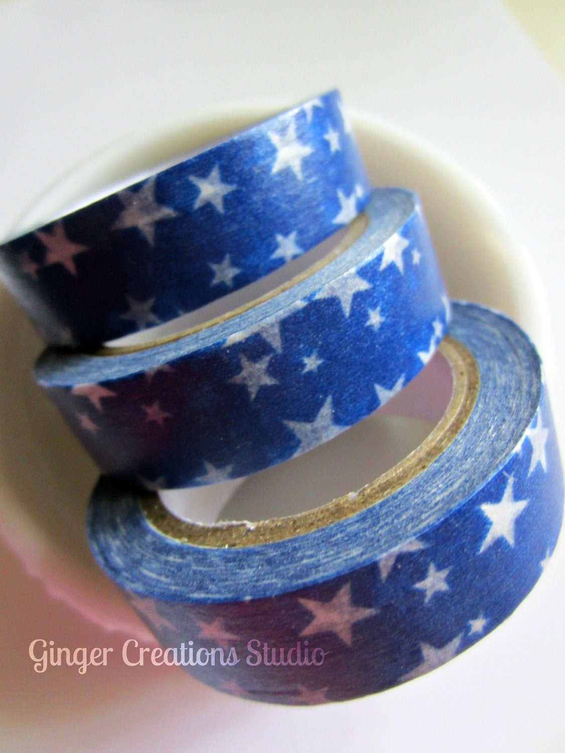Summer Washi Tape Blue Stars Japanese Masking Tape Americana July 4th Memorial Day - GingerCreations