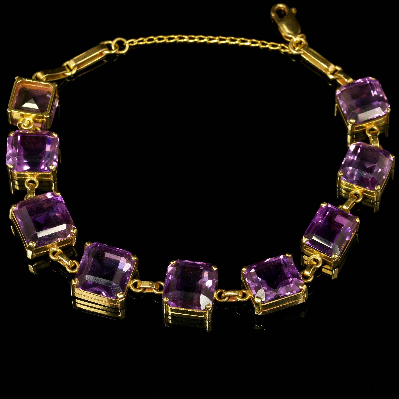 Art Deco Amethyst Gold Bracelet 18ct Yellow Gold