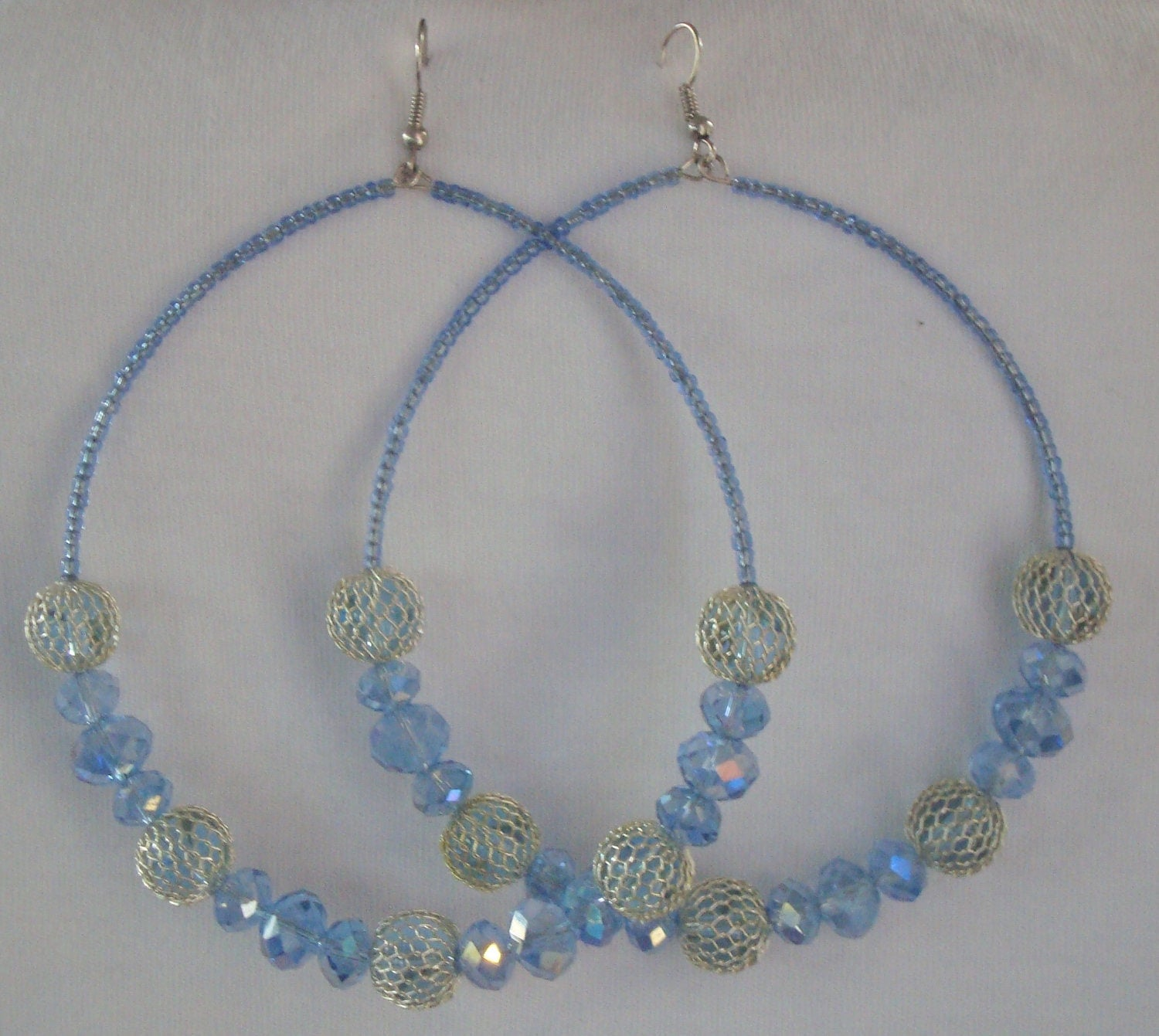 "8""- 9"" Handmade Hoop Earrings-3 Different Styles & Colors"