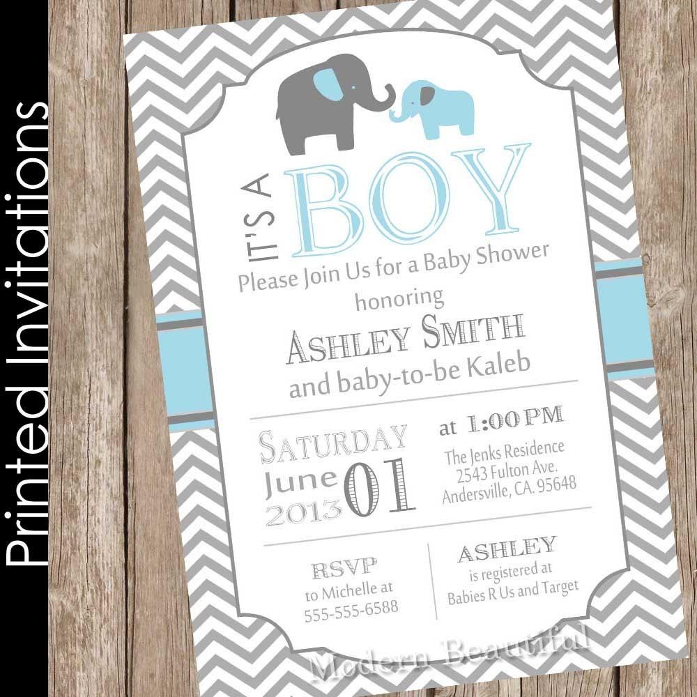 Printed Boy Elephant baby shower invitation, blue and grey ...