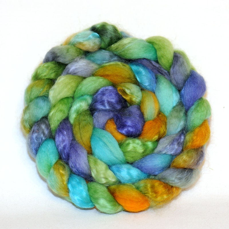 Blue Faced Leicester/Kid Mohair Top Roving Fibre Fiber100g Anna Colourway