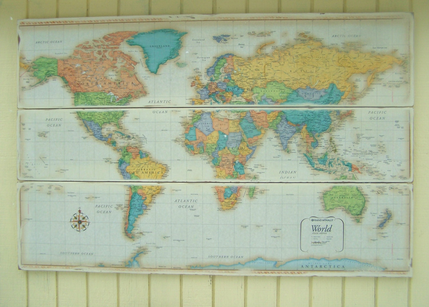 Large World Map Map Art World Map Wall by WhereTheRobinSings