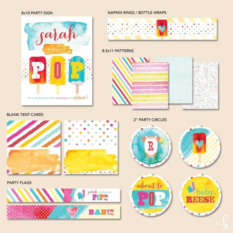custom watercolor popsicle baby shower the essentials printable