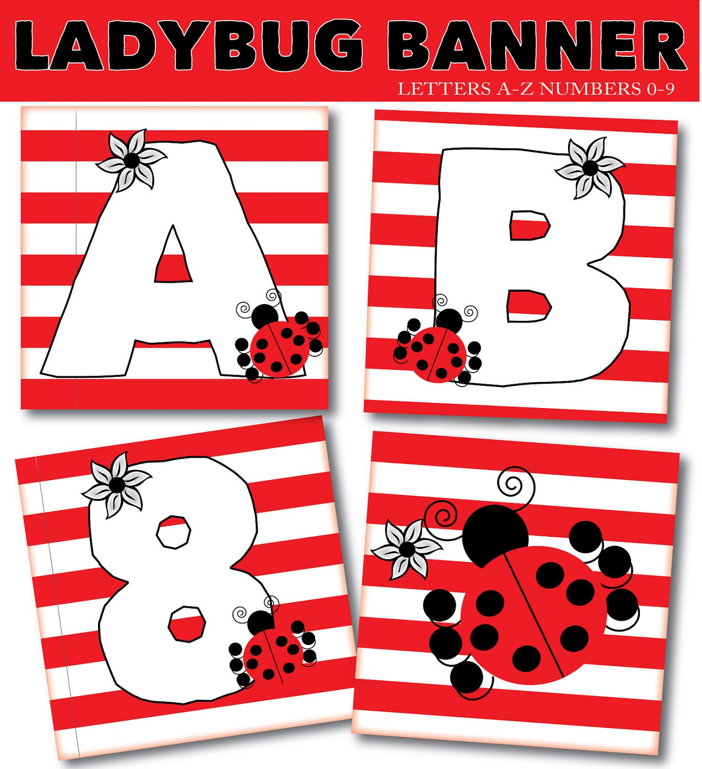 Items Similar To Ladybug Birthday Banner Letters A-Z