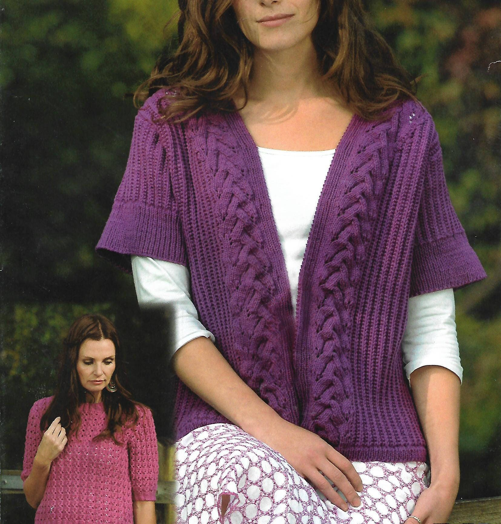 knitting pattern womens ladies cardigan sweater sizes 32 to 42 in double knitting pdf instant download