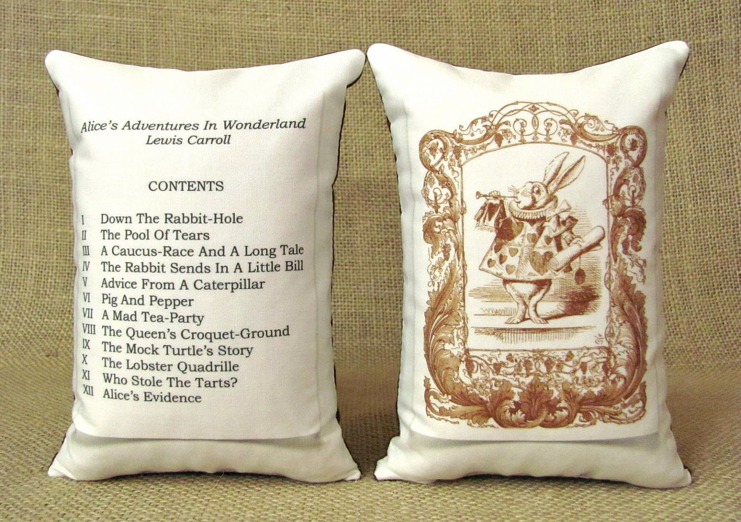 Alice In Wonderland - Bookends - Shelf Pillows - The White Rabbit