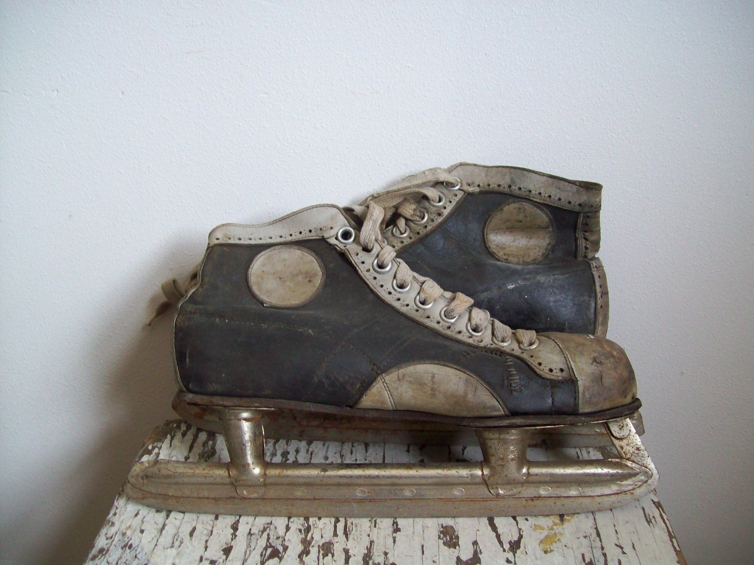 Vintage Leather Hockey Skates Union Hardware Company The Heart
