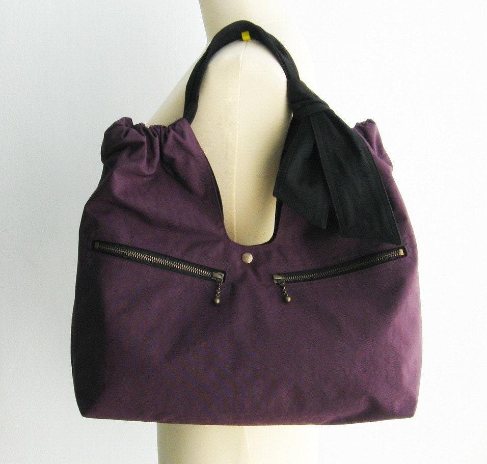 Water-Resistant Nylon Bag in Deep Plum - Teddy